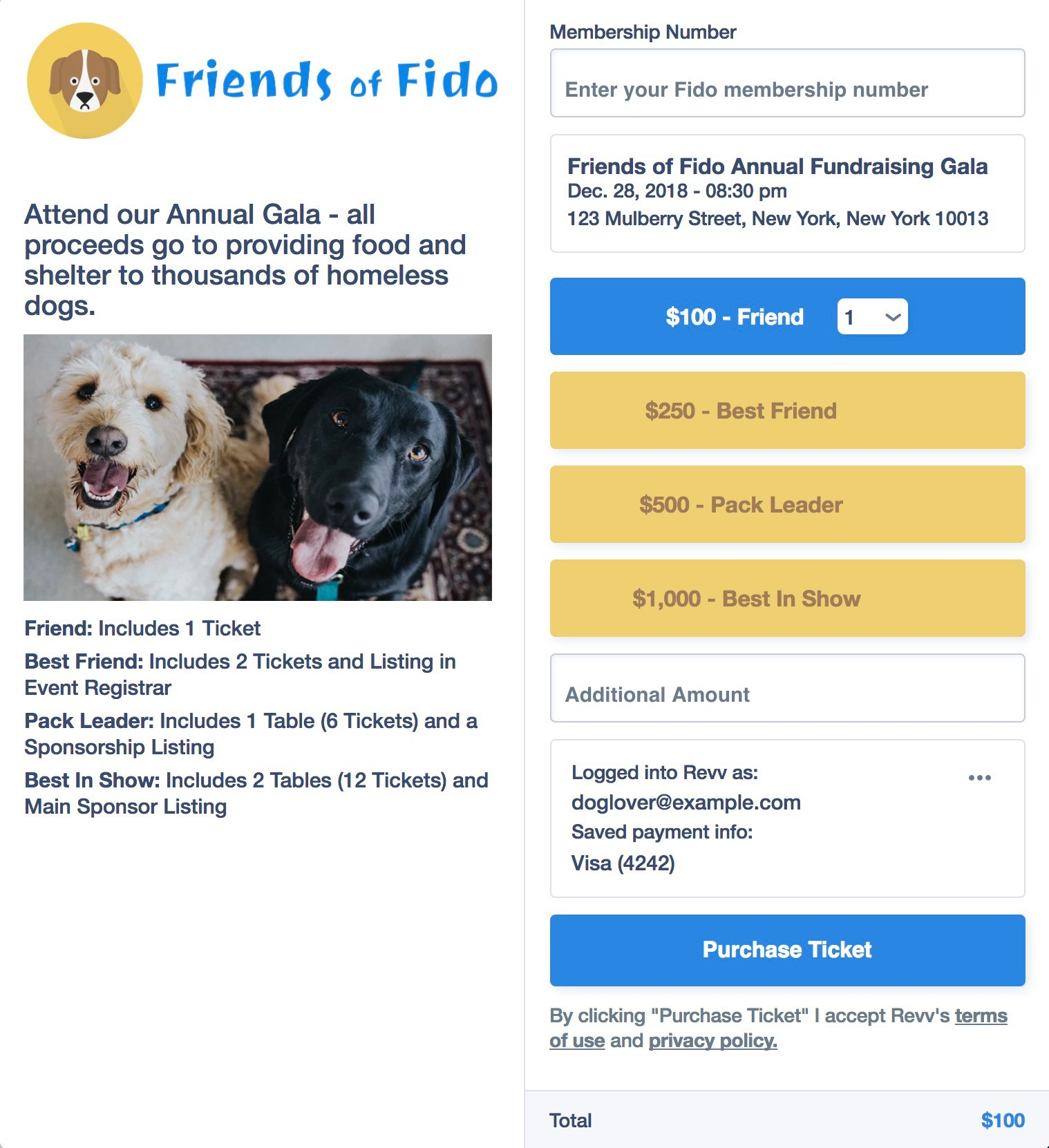 event sales and ticketing revv fundraising platform